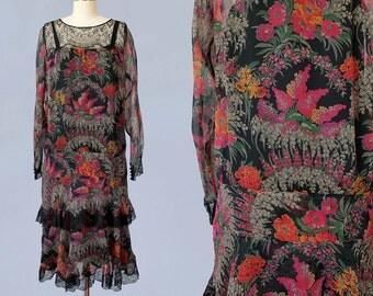 1920s Dress / 20s Black Floral Flapper Dress / Sheer Chiffon / Tiered Skirt / Lace Yoke