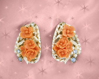 Big Clip On Earrings - 50s Vintage Large Clip ons - Coral Roses