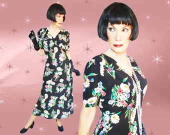 Plus Size Vintage Rayon Crepe Midi Dress - Retro Floral - Is It 30s? - Is it 80s? - Large