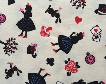 1 yard Alice in wonderland fabric white color Japanese fabric