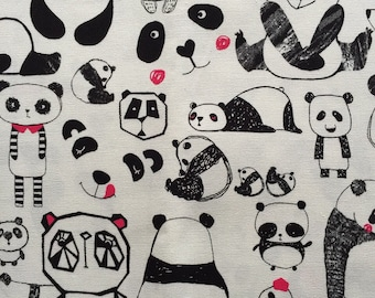Panda  printed fabric half yard
