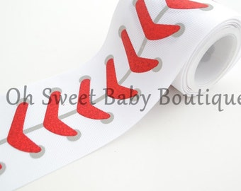 "3"" Baseball Laces Red Holographic Laser Foil  *Cheer Bow Ribbon*"