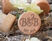 Initials Wine Stopper Gift - Personalized Wedding Favors Engraved Wood WS0127