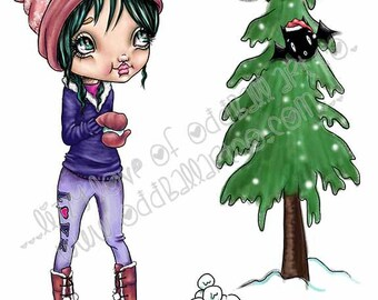 Christmas Kawaii Fine Art Giclee Print From My Original Painting Titled Snowball Fight IMG#170 by Lizzy Love