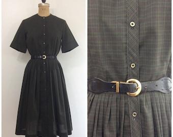 Vintage 1950s 1960s  Barnsville USA Plaid Dress 50s 60s Cotton Shirtwaist