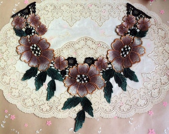 3pcs 34x31x14(depth)cm wide brown peony embroidered collar appliques patches 4357 free ship