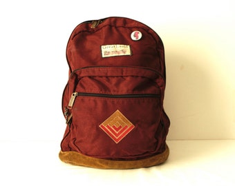 GREATLAND bakcpack jansport style 90s maroon LEATHER & canvas RUCKSACK backpack with original buttons and patches