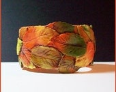Cuff Bracelet Autumn Leaves  Polymer Clay 1 1/4 in.  Antiqued Finish