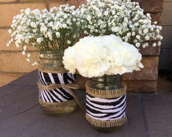 Mason Jar Wrap, BLACK Zebra & Burlap Jar Wrap,  Choose Size and Number of Wraps, Mason Jar Decoration, Shower, Party Decor