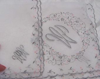 Lovely Large Sheer White Flocked Nylon Hankie Monogrammed W