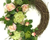 Spring Wreath Floral Dew Drop Roses Peonies Dahlias Queen Annes Lace Peach Lime  Indoor Outdoor