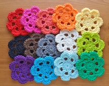Cotton Face Scrubbies, Hand Crocheted Flowers, Pick 7 Colors, Make-Up Removers, Reusable Cleaning Pads, 3 to 3.5 Inch Size