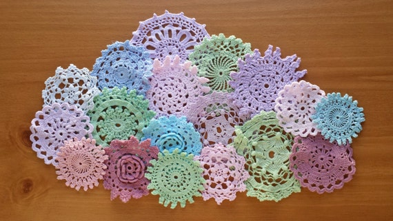18 Vintage Dyed Small Crafting Doilies for Decorating, Sewing, Crafts, Weddings, Cards, Scrapbooking