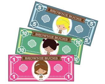 Girl Scout Brownie Bucks - Printable Instant Download
