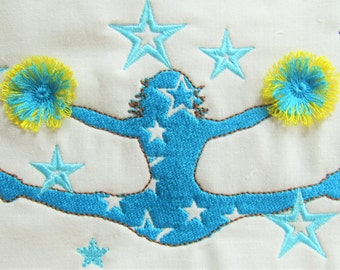 Cheerleader fringed - embroidery Design,  INSTANT DOWNLOAD for hoops 4x4 and 5x7