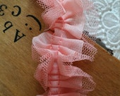 Bright Pink Chiffon Fold Lace Trim With Tulle Lace 1.18 Inches Wide 2 Yards