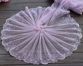 2 Yards Lace Trim Purple Flower Embroidered Tulle Lace 8.66 Inches Wide High Quality