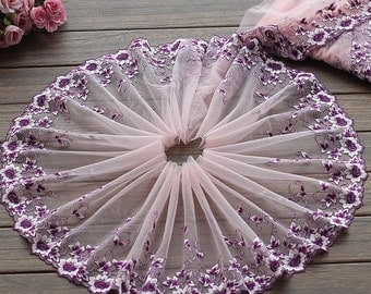 2 Yards Lace Trim Exquisite Purple Flowers Embroidered Pink Tulle Lace 9 Inches Wide High Quality