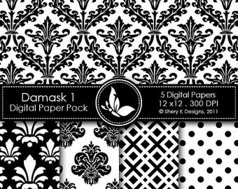 50% off Printable Damask Paper Pack 1 - 5 Printable Digital scrapbooking papers - 12 x12 - 300 DPI