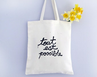 French market tote bag , hand printed French quotes on antique linen, Canvas Tote Bag - Funny Tote Bag - Screen Printed Tote Bag