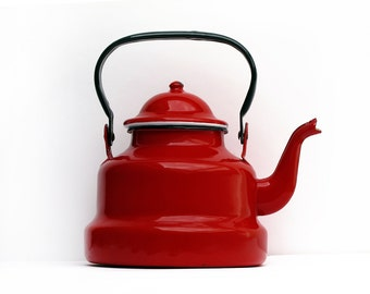 French vintage red Enamel Tea Kettle, red enamel kitchen, enamelware Teakettle