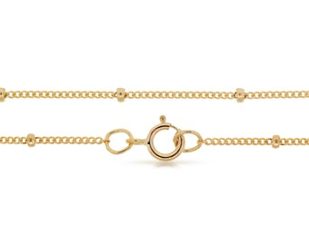 Finished Chains with spring ring clasp Gold Filled 20 inch 1mm Satellite chain with 2mm Bead  - 1pc (2825)/1