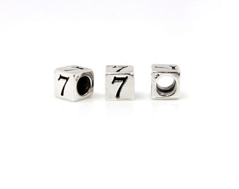 Number Beads Sterling Silver 6mm Number Block '7'  - 1pc 3.8mm Inside Diameter (4050)/1