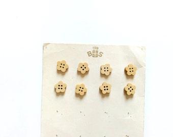 8 Flower Buttons, Wood, Wooden, Kids Buttons, Natural