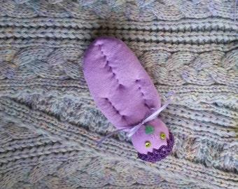 Lavender Filled Sachet Sock Doll Purple w/Purple Crochet Hat Green Button Eyes Green Heart Mouth