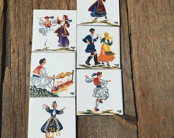 Small Tile Set, Vintage Hand Painted Tile, Scandinavian Tiles