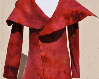 Jacket, felted jacket, felt, wool, merino wool, collar, fibre art, gift, size Medium