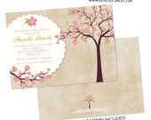 baby girl shower invitation cherry tree blossoms sip and see sprinkle baby blessing baptism birthday  (item 1344) shabby chic invitations