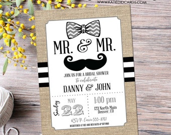 Gay bridal shower invitation LGBT mustache bow tie Mr and Mr couples adult  dinner rehearsal engagement burlap stripe item 369