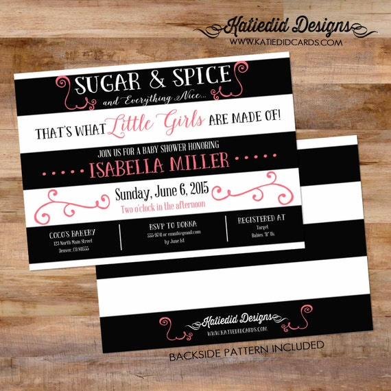 sugar and spice invitations baby shower themes ideas sprinkle sip and see diaper couples black and white stripe modern chic twin (item 1309)