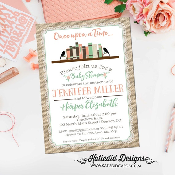 storybook baby shower invitation once upon a time bring a book library bookshelf burlap coral mint bookshelf coed diaper gender neutral 1366