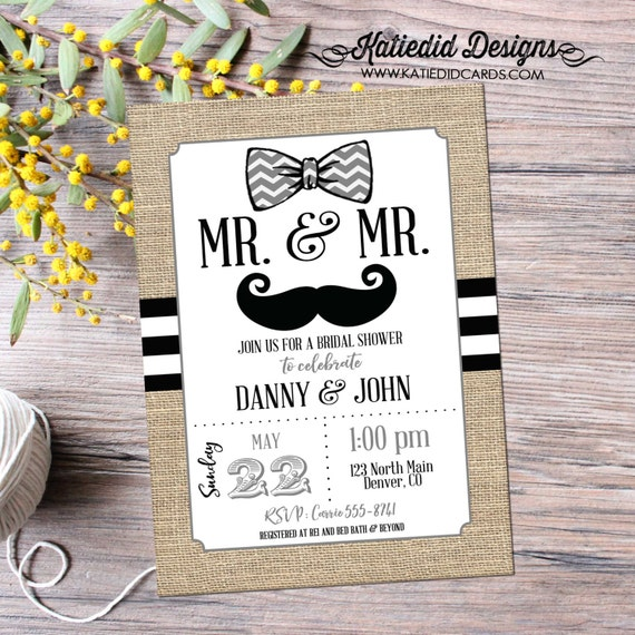 bow tie groom shower Couples Bridal Invitation gay shower burlap rustic chic black and white stripe shower invitation 369 Katiedid Designs