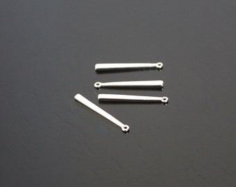Earring findings, Shiny Silver Simple Bar pendant, connector, charm, 2 pc,  S615735