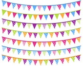Bright Bunting Clip Art - Rainbow Bunting Clipart - Bunting vector graphics EPS - Commercial Use - Instant Download