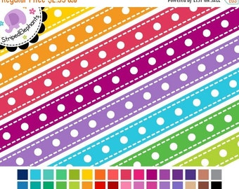 50% OFF SALE Digital Ribbons - Dash Dot Digital Ribbon Clipart - Instant Download - Commercial Use