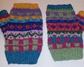 Multi coloured fairisle fingerless gloves - wristwarmers - mittens - mits