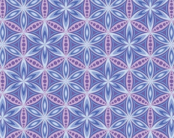 Benartex, Contemporary Prints, Transformations, Flower of life GRAPE PERIWINKLE
