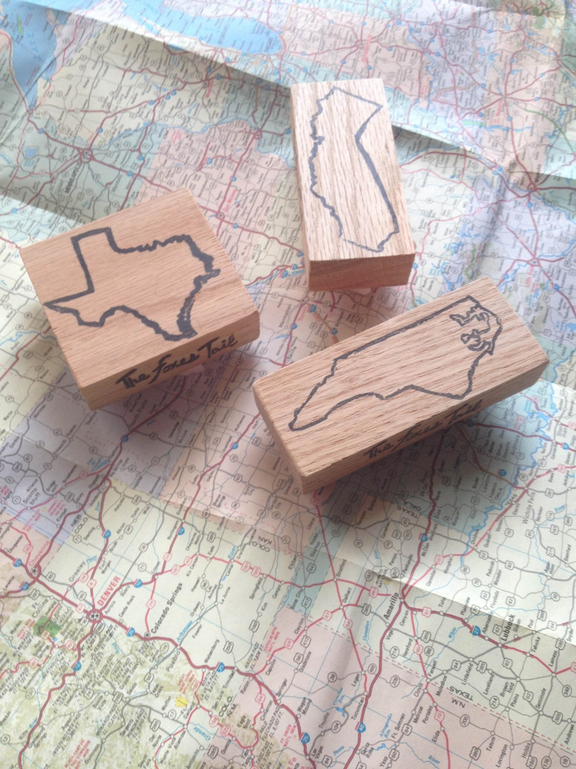 Texas hand carved outline state stamp america custom
