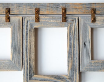 barnwood collage frame 3 4x6 multi opening frame rustic picture frame collage frame gray picture frame wood picture frame shabby chic