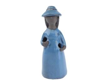 Vintage JIE Gantofta Sweden Girl Figurine.. Designed Elsi Bourelius.. Flower Girl Modern Ceramic..