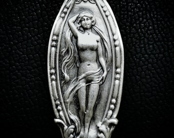 Goddess Necklace, Sterling Silver Spoon Pendant, Venus Necklace, Art Nouveau Necklace, Birth of Venus, Handmade, Greek Goddess Pendant 6490