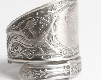 Griffin Ring, Sterling Silver Spoon Ring, Griffon Ring, Silver Dragon Ring, Sterling Dragon Jewelry, Engraved M, Adjustable Ring Size (6069)