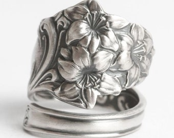 Easter Lily Ring, Flower Ring, Spoon Ring Sterling Silver, Antique Spoon Ring 1905 Fessenden, 5th Wedding Gift, Adjustable Ring Size (6081)