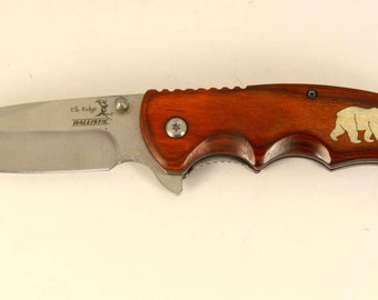 Elk Ridge assisted opening knife with custom Maple wood Bear inlay