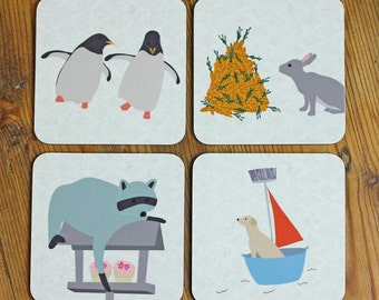 Animal Coasters set of four - dog, penguin, rabbit, and racoon