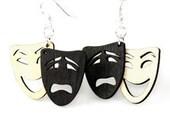 Tragedy comedy - laser cut wood earrings